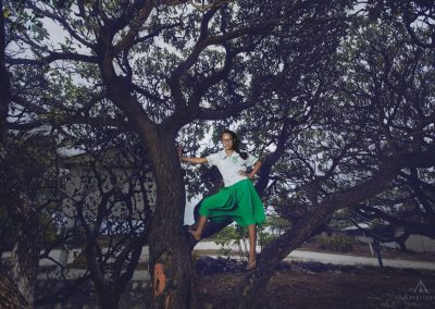 School girl on the tree